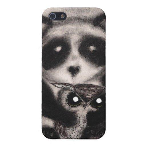 Búho y panda - caja de la mota del iPhone 4/4S iPhone 5 Carcasas