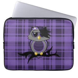"""Búho y tela escocesa lindos 13"""" de Emo bolso de la Funda Computadora"""