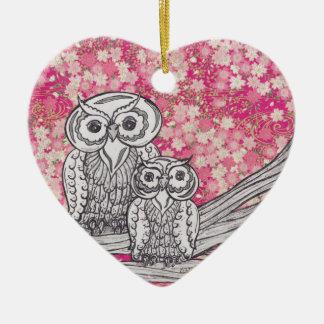 Búhos 4 del papel chino adorno navideño de cerámica en forma de corazón