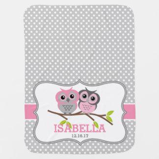 Búhos adorables personalizados mantas de bebé