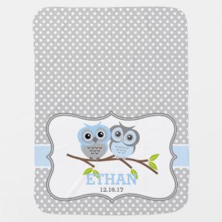 Búhos adorables personalizados mantita para bebé