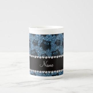 Búhos azules brumosos conocidos personalizados del taza de porcelana