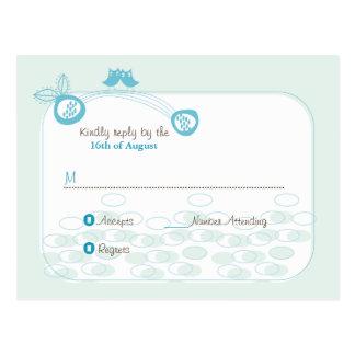Búhos azules en postal de encargo de la
