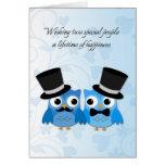 Búhos azules, hombres gay que casan enhorabuena felicitación