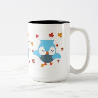 Búhos azules taza de dos tonos