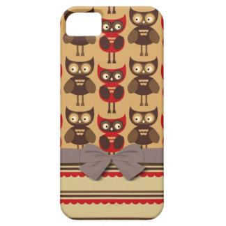 búhos caprichosos enrrollados y rayas horneadas a funda para iPhone 5 barely there