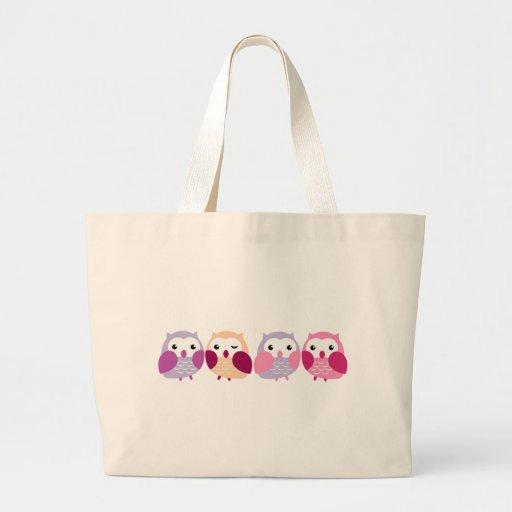 Búhos coloridos lindos - rosados y pasteles púrpur bolsas