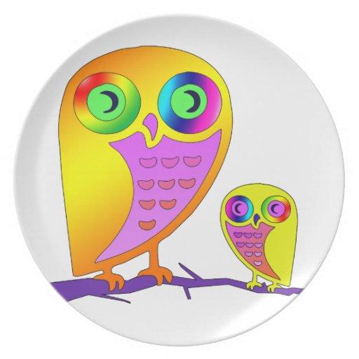Búhos coloridos plato para fiesta