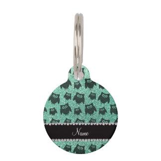 Búhos conocidos personalizados del brillo del verd placa de mascota