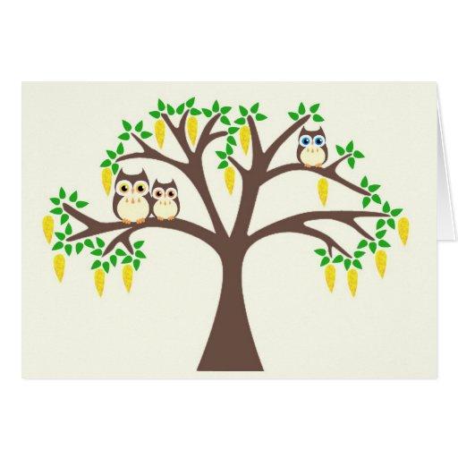 Búhos de Brown en un árbol del Laburnum Felicitaciones
