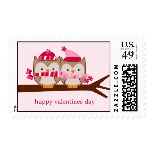 Búhos de día de San Valentín Sellos