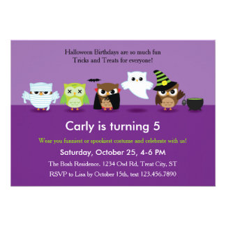 Búhos de Halloween en la invitación del cumpleaños