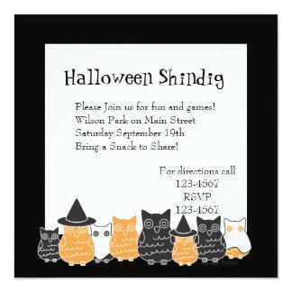 """Búhos de Halloween Invitación 5.25"""" X 5.25"""""""