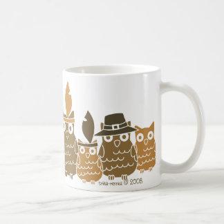 Búhos de la acción de gracias taza de café