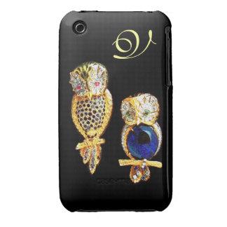 BÚHOS de la JOYA, oro, zafiro azul, Topaz Case-Mate iPhone 3 Protectores