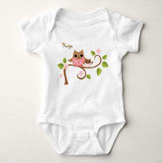 Búhos de la mamá y del bebé body para bebé