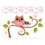 Búhos de la mamá y del bebé tarjeta postal