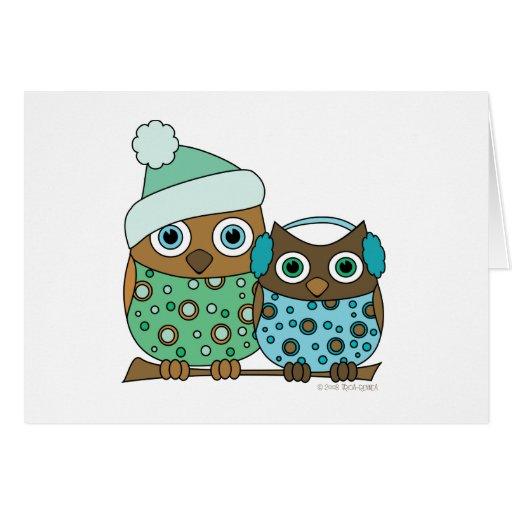 Búhos de la nieve tarjeta pequeña