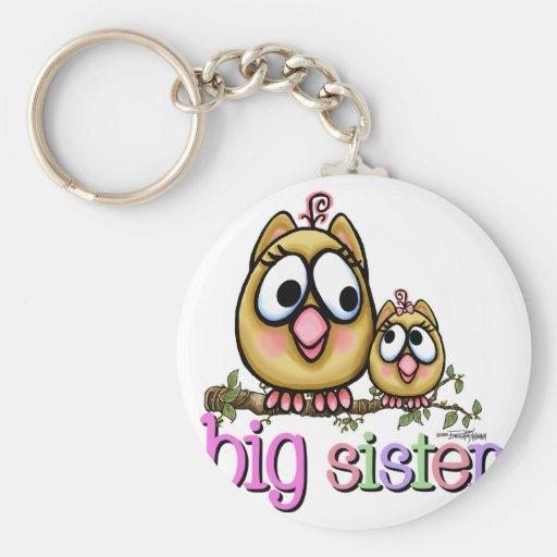 Búhos de la pequeña hermana de la hermana grande llaveros