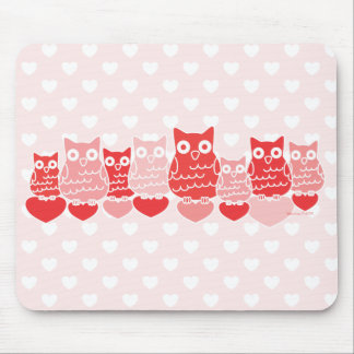 Búhos de la tarjeta del día de San Valentín Tapete De Ratones