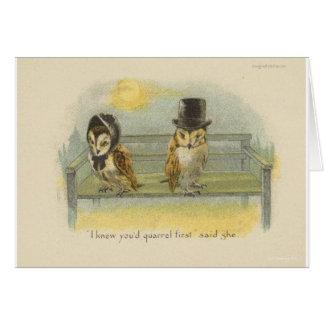 búhos de pelea tarjeta de felicitación