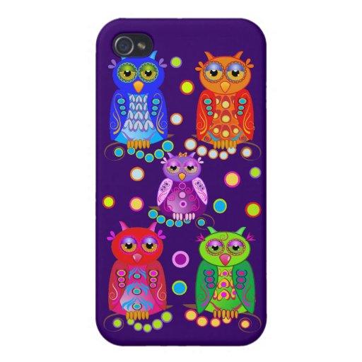 Búhos decorativos coloridos lindos iPhone 4 carcasas