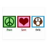Búhos del amor de la paz postal