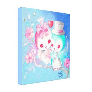 Búhos del amor lienzo envuelto para galerías