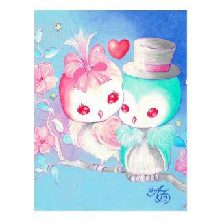 Búhos del amor tarjetas postales