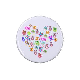 Búhos del arco iris blancos frascos de dulces