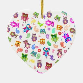 Búhos del arco iris - luz adorno de cerámica en forma de corazón