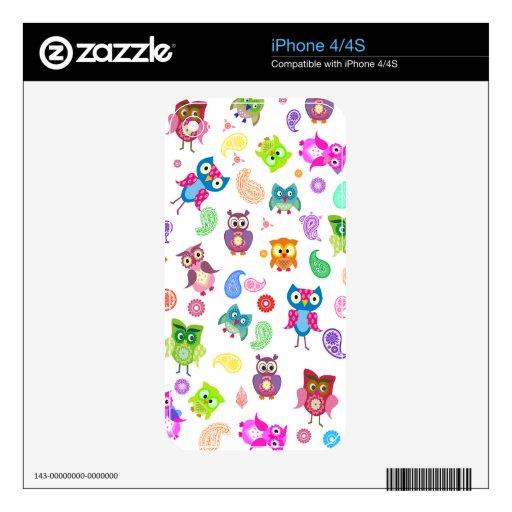 Búhos del arco iris - luz iPhone 4S calcomanías