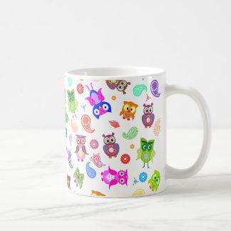 Búhos del arco iris - luz tazas de café