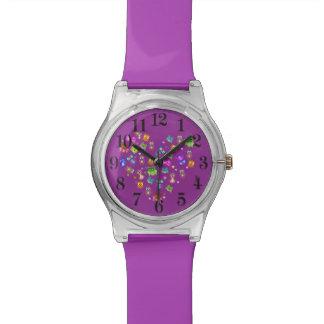 Búhos del arco iris púrpuras relojes de mano