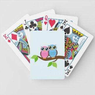 Búhos del cielo azul baraja cartas de poker