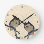 Búhos del japonés del vintage reloj