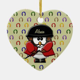 búhos del jinete del caballo adorno navideño de cerámica en forma de corazón
