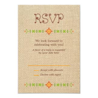 Búhos del Lovebird en la arpillera que casan RSVP Invitación 8,9 X 12,7 Cm