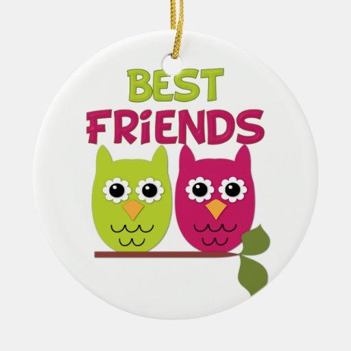 Búhos del mejor amigo adorno navideño redondo de cerámica