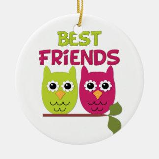 Búhos del mejor amigo adorno redondo de cerámica