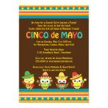Búhos del mexicano de Cinco de Mayo Invitación 12,7 X 17,8 Cm