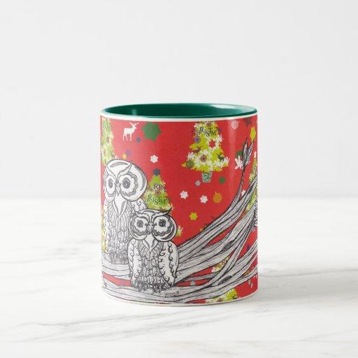 Búhos del navidad 1 taza