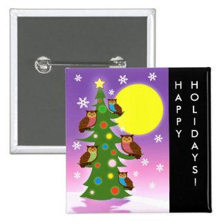 Búhos del navidad pin cuadrado