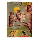 Búhos del vintage tarjeta