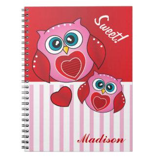 Búhos dulces de la tarjeta del día de San Valentín Cuaderno