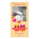 Búhos dulces del amor tarjeta fotográfica