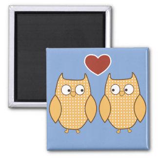 Búhos en amor imán cuadrado
