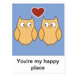 Búhos en amor tarjetas postales
