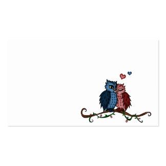 búhos en tarjetas de visita del amor