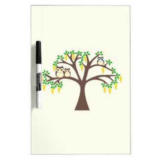 Búhos en un árbol del Laburnum Pizarra